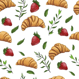 Croissant strawberry fresh pattern