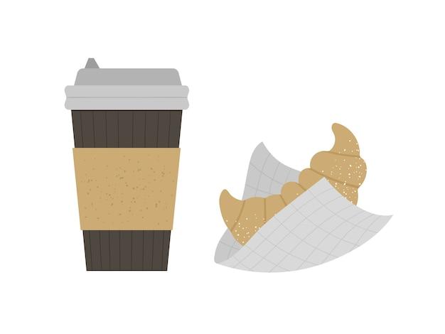 Круассан с иллюстрацией чашки кофе на вынос