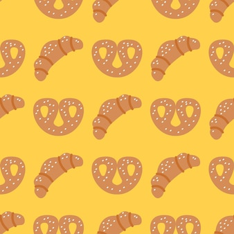 Croissants and pretzels on yellow background, vector seamless pattern