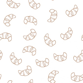 Croissants seamless pattern.