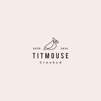 Crooked titmouse bird logo hipster