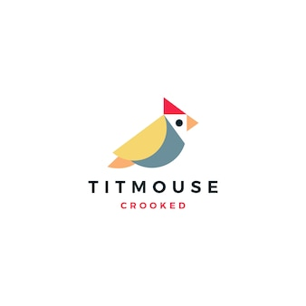Crooked titmouse bird logo vector icon illustration