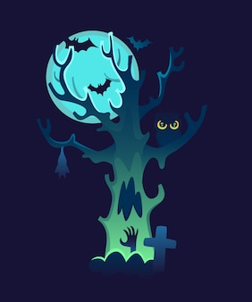 Crooked tree with owl and glowing moon. hand rising from the ground