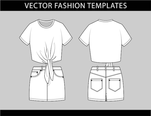 Croop tee and mini skirt fashion flat sketch template, casual outfit