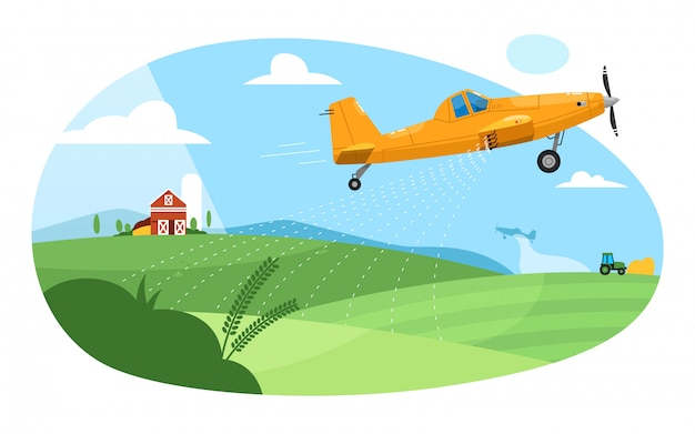 Crop duster. flying aircraft plane spraying farm field with pesticide chemicals. green rural farmland landscape with barn and crop duster. agricultural industry aviation farming