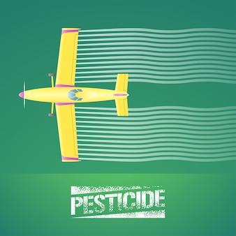 作物ダスター飛行機のイラスト。緑の農地を散布する飛行機の空撮。害虫、虫除け、農薬サインと作物ダスターによる農業技術のデザインコンセプト要素