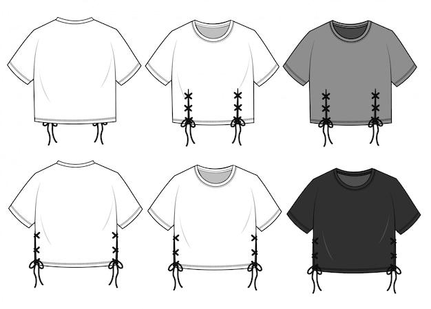 Crop tee мода плоский эскиз шаблона