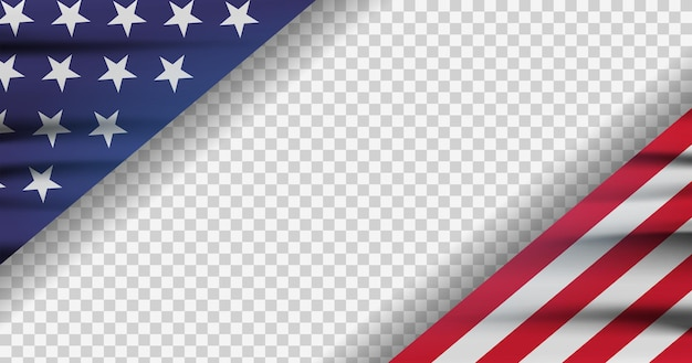 Cropped american flag on transparent background. modern illustration. official colors of flag of usa. banner on independence day.