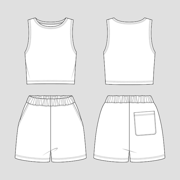 Cropped tank top and shorts. jersey sporty set.