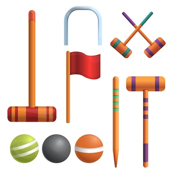 Croquet set, cartoon style
