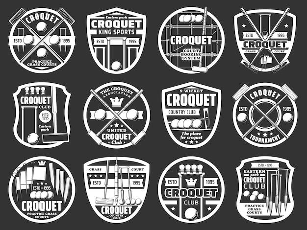 Крокет спортивный клуб монохромный набор. оборудование для крокета, молоток, мяч и прыжок, колышек, зажим и флаг с гравировкой