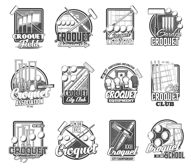 Croquet sport icons isolated mallet, peg and balls items