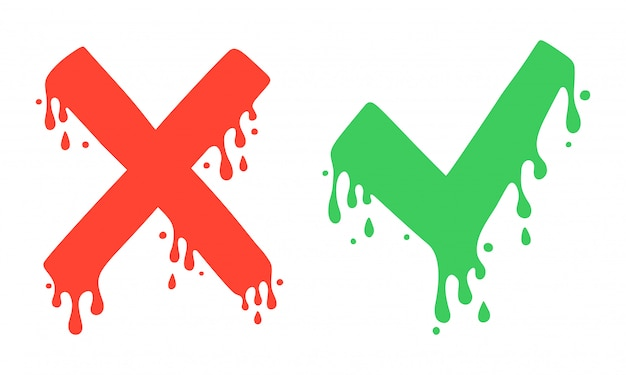 Крест и галочки, значки x и v. нет и да символы, голосование и решение. векторное изображение мультяшный стиль, жидкость капает.