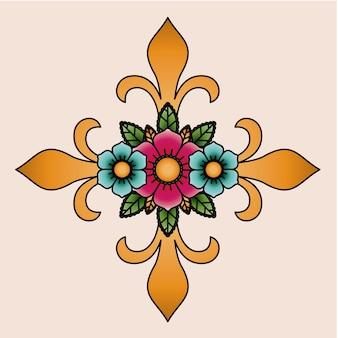 Крест и цветок тату изолированных дизайн иконок