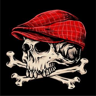 편평한 모자를 가진 십자가 뼈 두개골