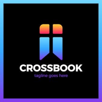 Cross bookmark church logotype
