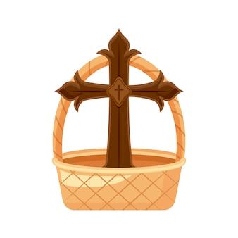 Cross catholic in basket wicker