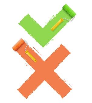 Cross check symbol yes  or no. Premium Vector