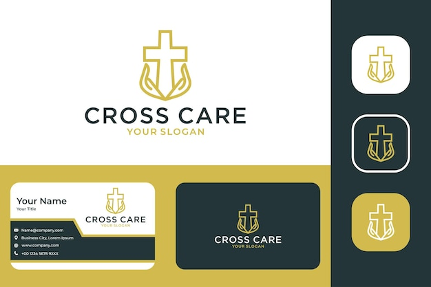 Cross church care with line art logo design and business card