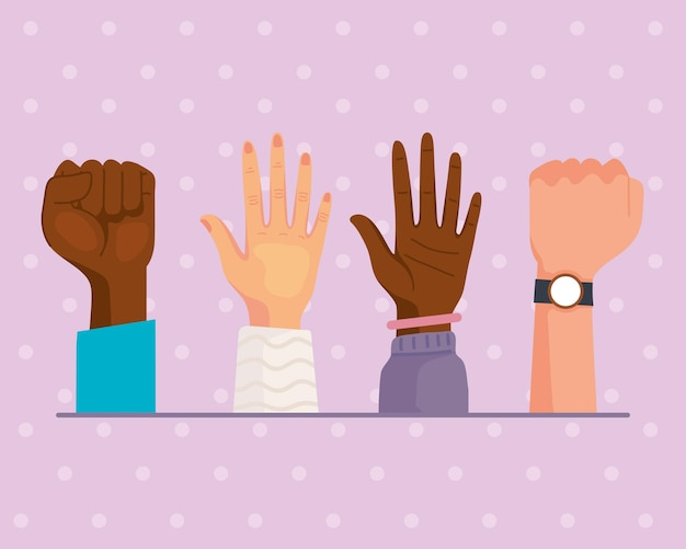 Cross cultural four hands up
