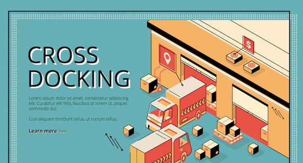 Cross docking logistics. trucks receiving and shipping goods, warehousing process, cargo transportation.