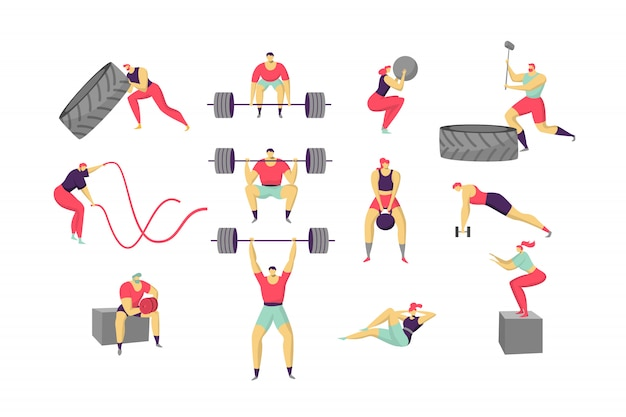 Cross fit people training, cartoon characters workout, set  on white,  illustration