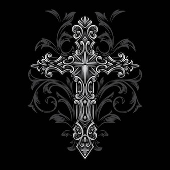 Cross gothic syle vector ornament