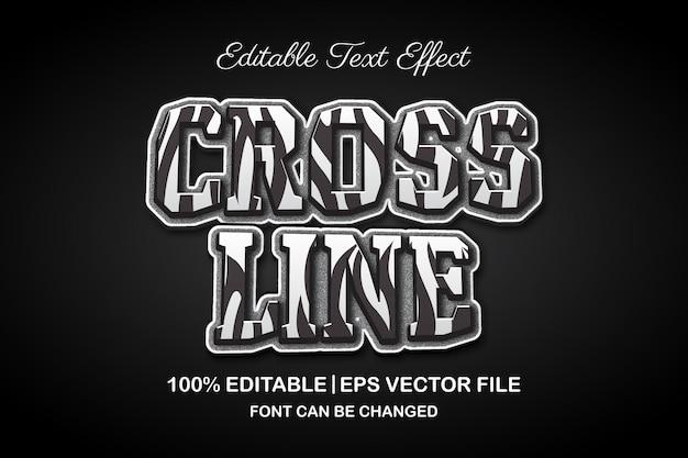 クロスラインの白と黒の3d編集可能なテキスト効果