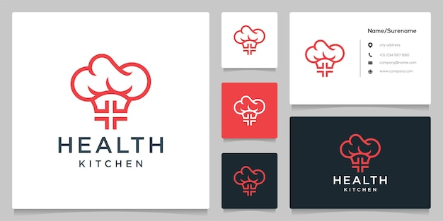 Cross medical hat kitchen healthy food logo design illustration with bsiness card