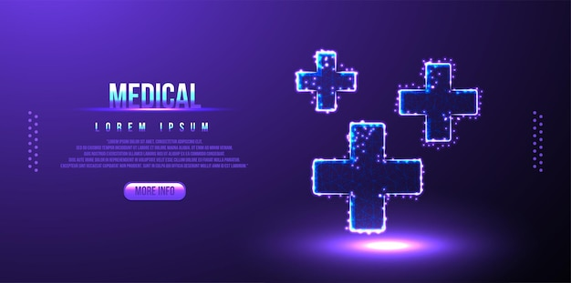 Крест, медицинский низкополигональный каркас, многоугольный дизайн