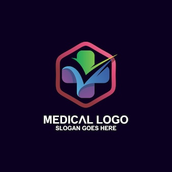 Cross medical with check icon logo