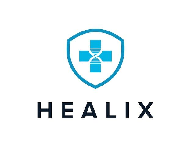 Cross medical with healix and shield simple sleek creative geometric modern logo design