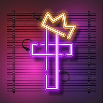 Крест неоновая вывеска с короной.