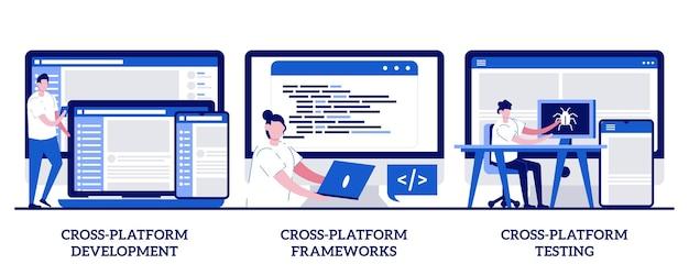 Cross-platform development, framework and testing concept with tiny people. cross-platform operating system  set. code writing, multi platform.