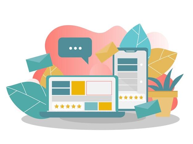 크로스 플랫폼, 벡터 일러스트 레이 션. 커뮤니케이션 및 채팅의 개념