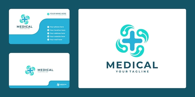 Cross plus medical logo icon design and business card template