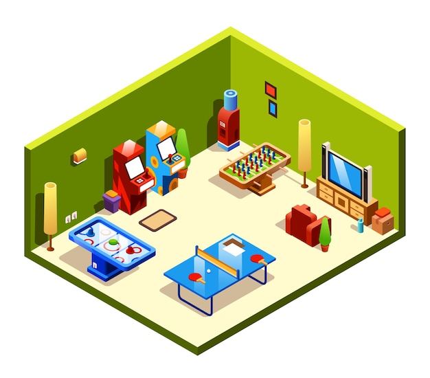 Sala ricreativa di sezione trasversale con intrattenimento e divertimenti - ping-pong Vettore gratuito