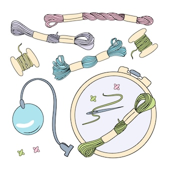 Cross stitch illustration set for sewing and embroidery