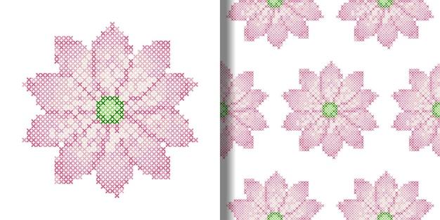 Cross stitch lotus print and seamless pattern set of embroidery needlework textile  t shirt prints