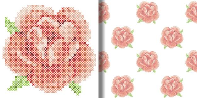 Вышивка крестиком красная роза принт и бесшовный узор обои с вышивкой текстильные принты футболок