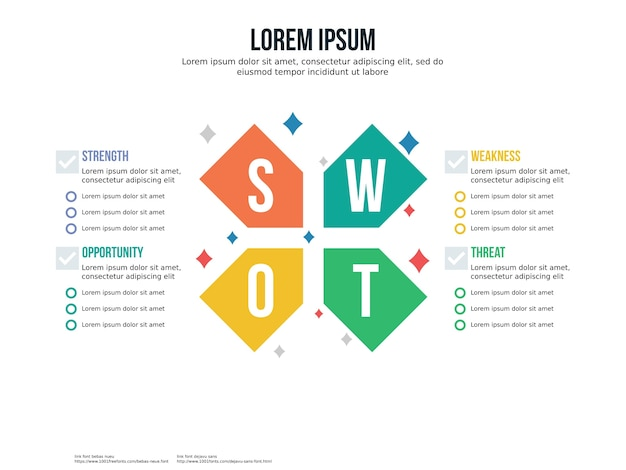 Cross swot infographic element and presentation template