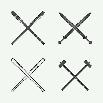 Cross weapons in retro style
