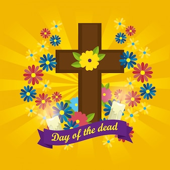 Cross with candles and flowers to day of the dead