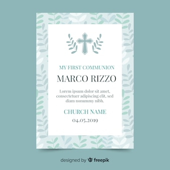 Cross with leaves first communion invitation