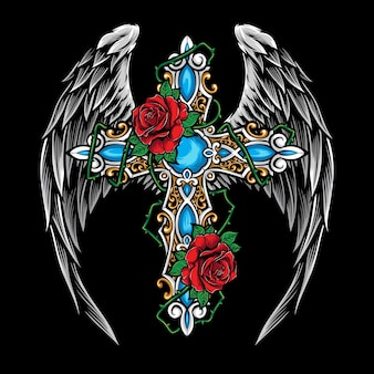 Cross with roses  illustration