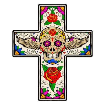 Cross with winged sugar skull isolated on white background. day of the dead.   illustration.