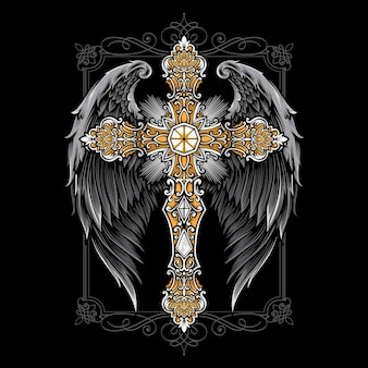 Cross with wings ornament