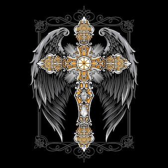 날개 장식으로 십자가