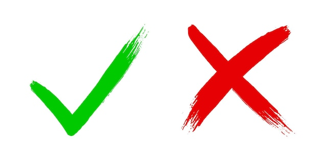 Cross x and tick v ok check mark vector illustration isolated on white background