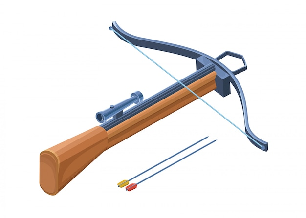 Crossbow weapon 3d isolated with bows